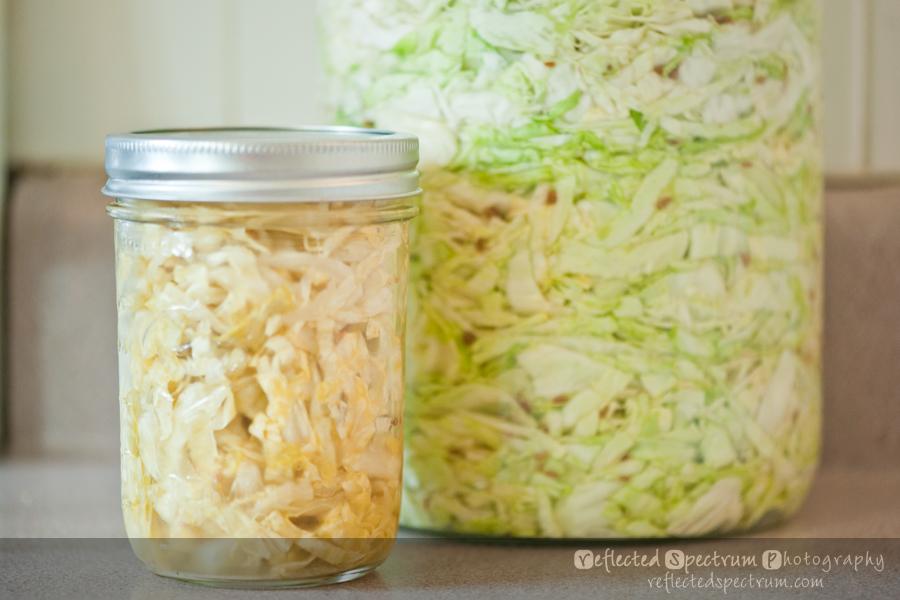 Comparisson shot of cabbage and sauerkraut color variation