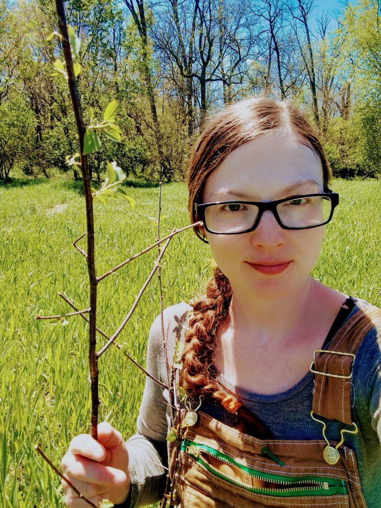self portrait with american plum tree